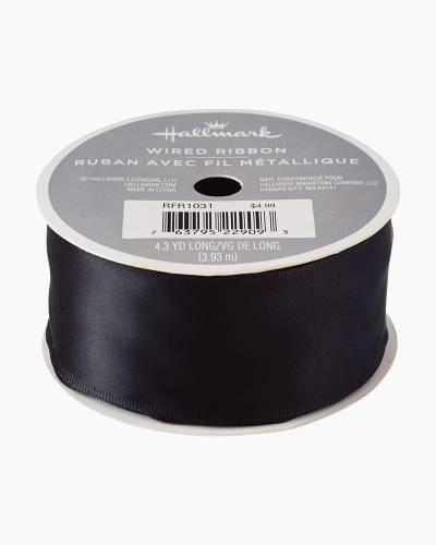 Black 1.5-inch Satin Wire-Edged Ribbon, 4.3 yards