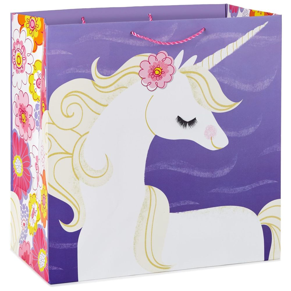 Hallmark Whimsical Unicorn on Purple X-Deep Gift Bag, 15