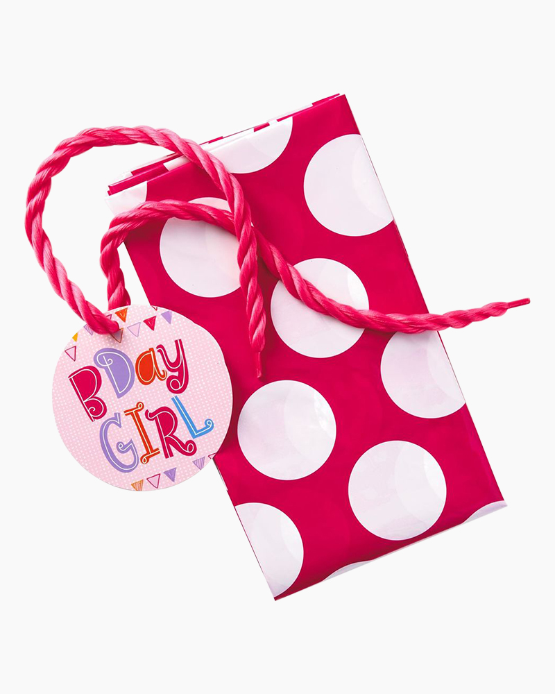 Hallmark White Dots on Pink Plastic Giant Gift Bag With Yarn Tie, 56