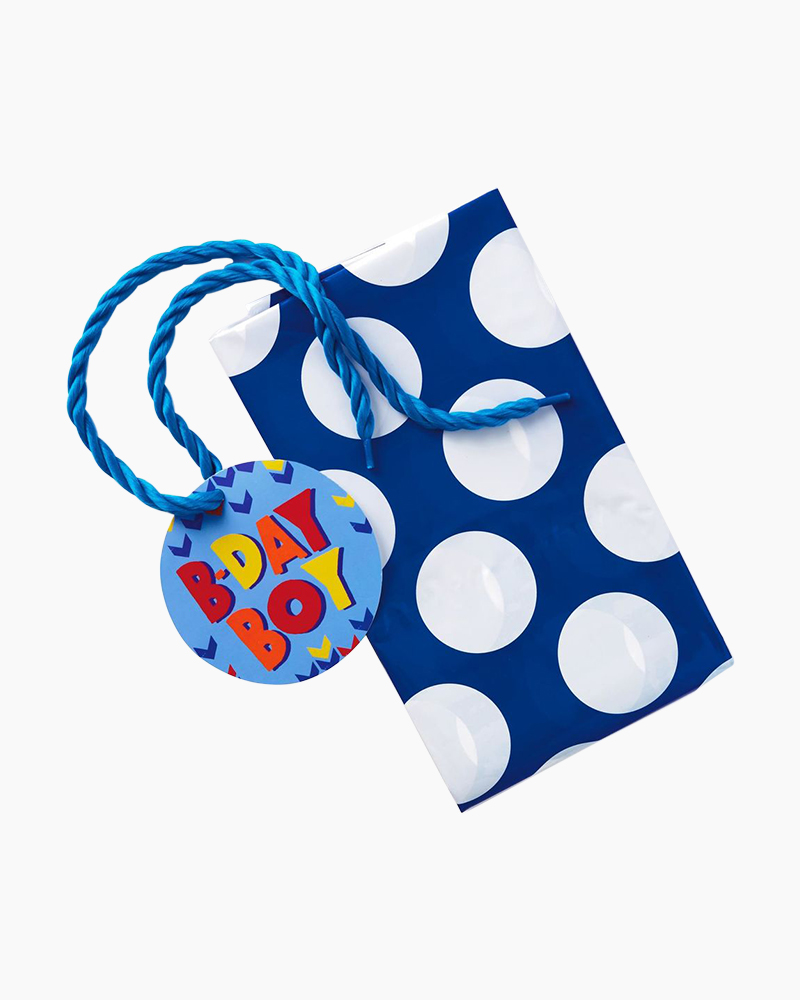 Hallmark White Dots on Blue Plastic Giant Gift Bag With Yarn Tie, 56