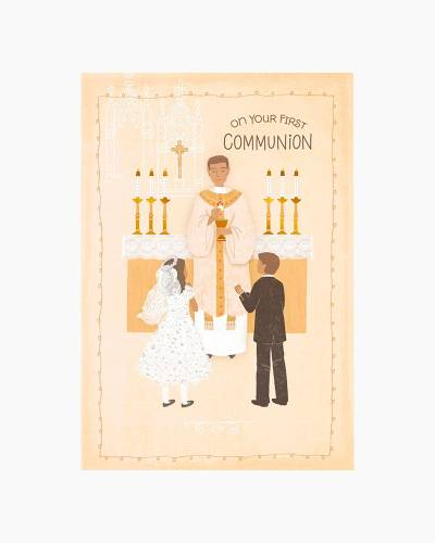 Boy and Girl Receiving the Eucharist First Communion Card