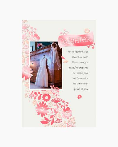 White Dress and Veil First Communion Card for Daughter