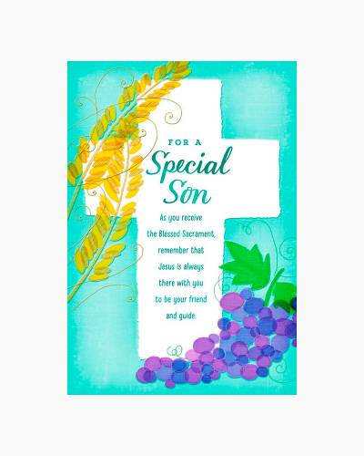 Cross With Wheat and Grapes First Communion Card for Son