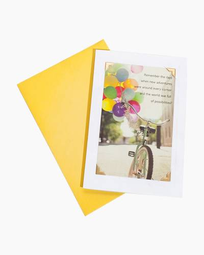 New Adventures Bicycle Birthday Card