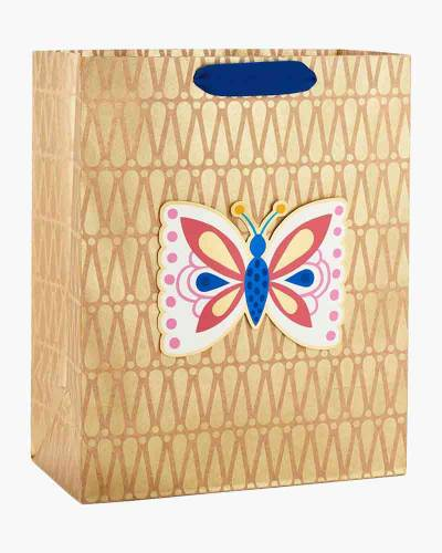 Butterfly on Kraft Paper Large Gift Bag, 13-inch