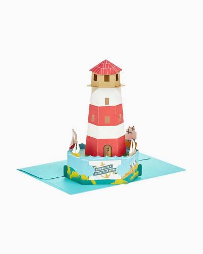 Wonderfolds Bright Wishes Lighthouse Pop Up Birthday Card