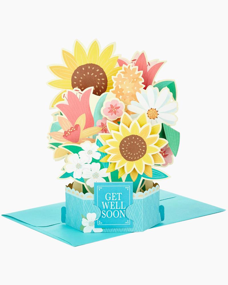 Hallmark Wonderfolds Sunflower Bouquet Pop Up Get Well Card The Paper