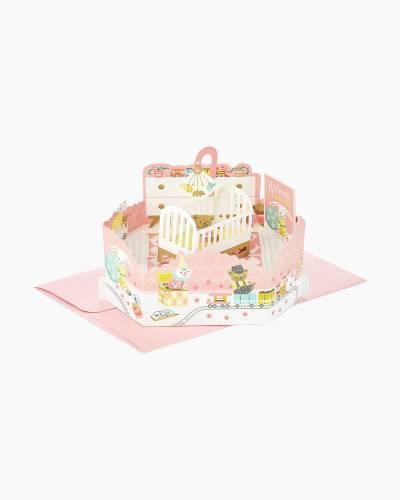Wonderfolds Girl Nursery Pop Up New Baby Card
