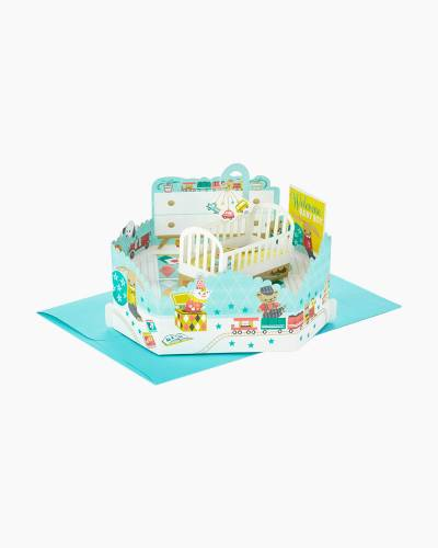 Wonderfolds Boy Nursery Pop Up New Baby Card