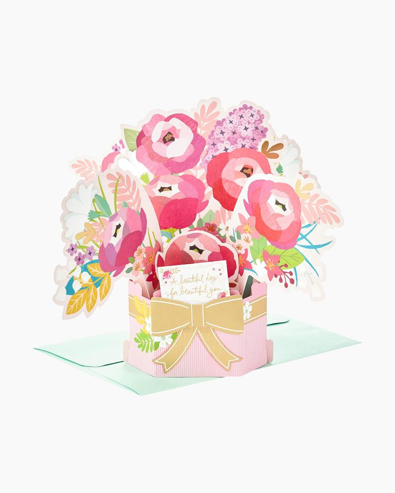Hallmark Wonderfolds Blossoming Flower Bouquet Pop Up Birthday Card