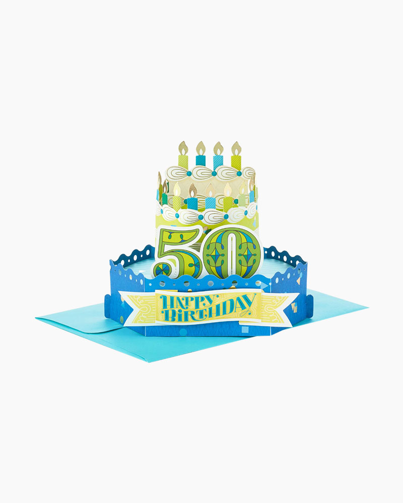 Hallmark Wonderfolds Celebrate With Cake Pop Up 50th Birthday Card