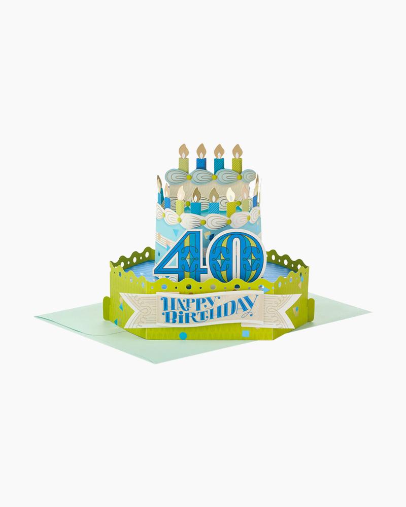 Hallmark Wonderfolds Celebrate With Cake Pop Up 40th Birthday Card