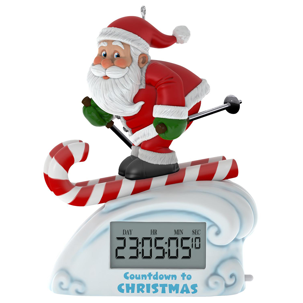 Countdown To Christmas Clock.Santa Skiing Countdown To Christmas Clock Ornament With Light