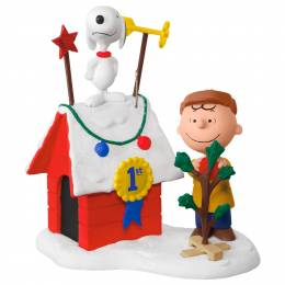 Hallmark PEANUTS Charlie Brown and Snoopy Decked-Out Doghouse Sound Ornament With Light