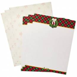 Hallmark Holiday Plaid Border Newsletter Paper, 20 Sheets
