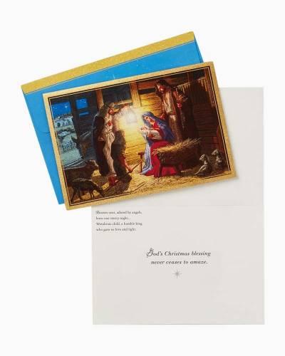 Shepherds Visiting the Manger Religious Christmas Cards, Box of 16