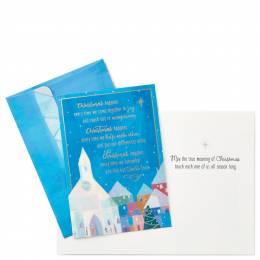Hallmark Village Church With Houses Christmas Cards, Box of 16