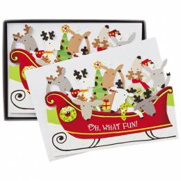 Hallmark Merry Reindeer in Sleigh Christmas Cards, Box of 16