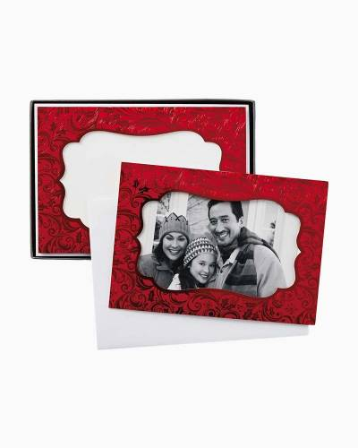 Red Damask Photo Holder Christmas Cards, Box of 12