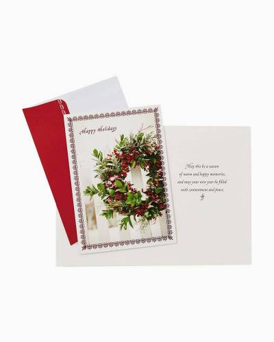 Glittered Wreath Christmas Cards, Box of 16