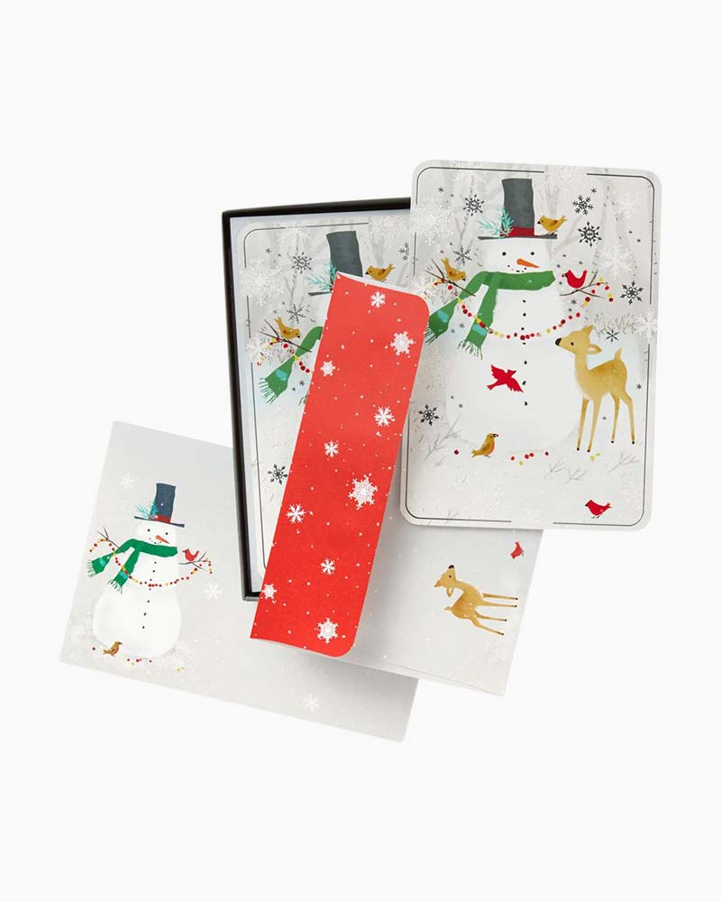 hallmark snowman and deer christmas cards box of 16 the paper store - Deer Christmas Cards