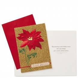 Hallmark Poinsettia on Gold Glitter Christmas Cards, Box of 12