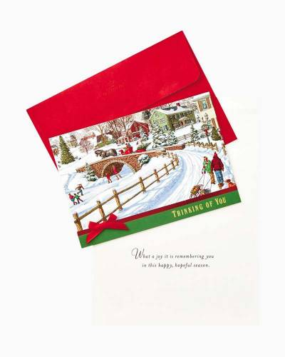 Horse-drawn Carriage Winter Scene Christmas Cards, Box of 12
