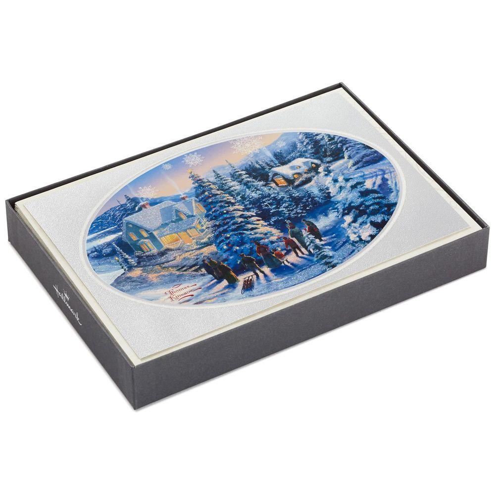 Hallmark Thomas Kinkade Caroling Villagers Christmas Cards, Box of ...