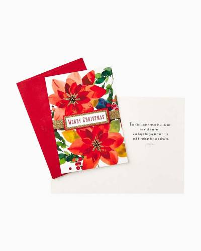 Poinsettia With Berries and Branches Christmas Cards, Box of 12