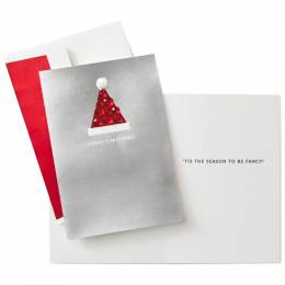 Hallmark Santa Hat With Pom-Pom Christmas Cards, Box of 8