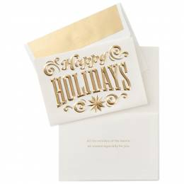 Hallmark Happy Holidays Gold Lettering Christmas Cards, Box of 8