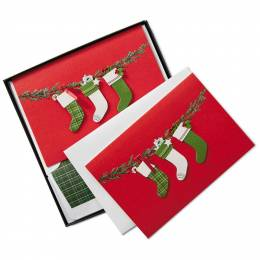 Hallmark Trio of Stockings Christmas Cards, Box of 8
