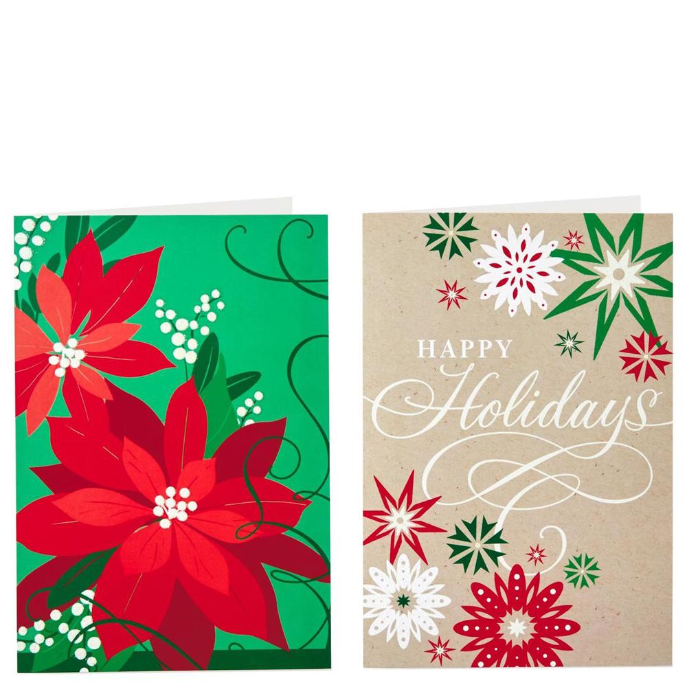 Hallmark Poinsettia and Snowflakes Value Christmas Cards With 2 ...