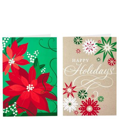 Poinsettia and Snowflakes Value Christmas Cards With 2 Designs, Box of 40