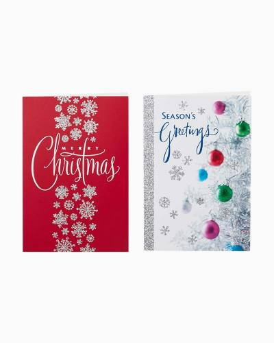 Silver Tree and Snowflake Value Christmas Cards With 2 Designs, Box of 40