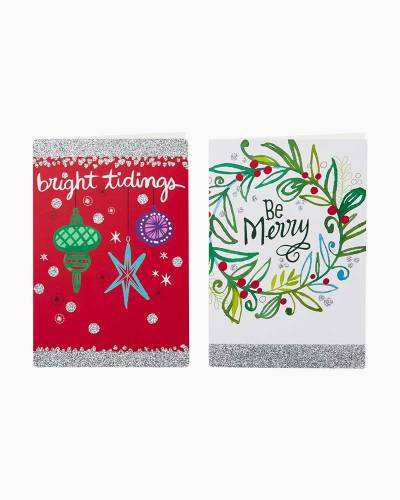 Wreath and Ornaments Value Christmas Cards With 2 Designs, Box of 40