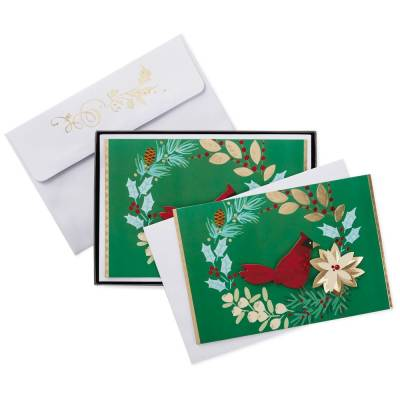 Winter Wreath With Cardinal Christmas Cards, Box of 12