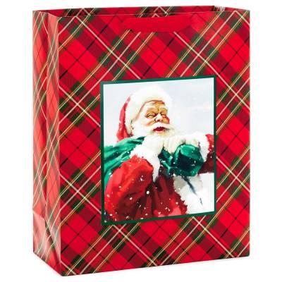 "Classic Santa on Red Plaid X-Large Christmas Gift Bag, 15.5"""