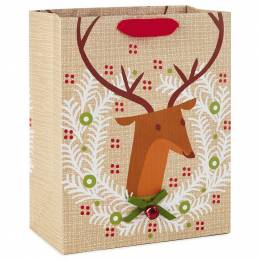 Hallmark Reindeer Wreath With Jingle Bell Large Christmas Gift Bag, 13