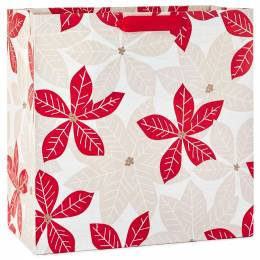 Hallmark Eclectic Poinsettias X-Deep Christmas Gift Bag, 15