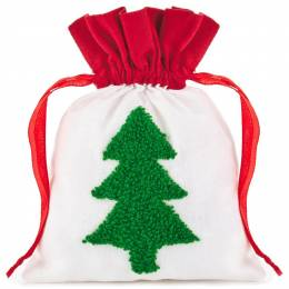 Hallmark Punchneedle Tree Small Fabric Christmas Gift Bag, 6