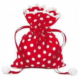 Hallmark Polka Dot Small Fabric Christmas Gift Bag, 6