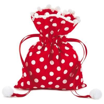 Polka Dot Small Fabric Christmas Gift Bag, 6-inch
