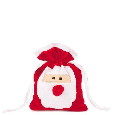 Santa Claus Small Fabric Christmas Gift Bag, 6-inch
