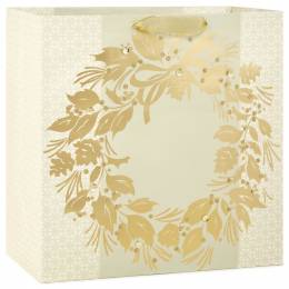 Hallmark Gold Wreath X-Deep Christmas Gift Bag, 15