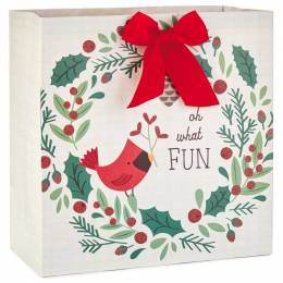 Hallmark Cardinal Wreath X-Deep Christmas Gift Bag, 15
