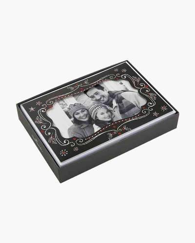 Chalkboard With Snowflakes Photo Holder Christmas Cards (Box of 12)