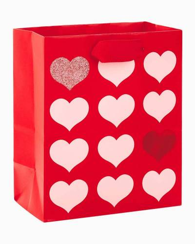 Red With Pink Hearts Small Gift Bag, 6.5""