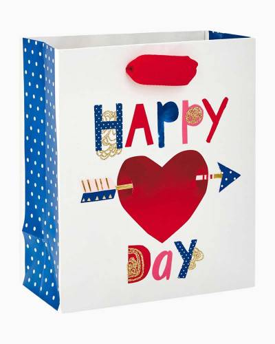 """Happy Heart Day Small Gift Bag, 6.5"""""""