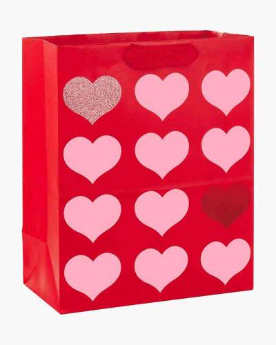 Red With Pink Hearts Large Gift Bag, 13""